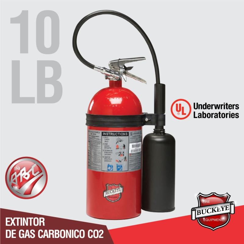 Extintor de 10lb UL CO2 tipo BC